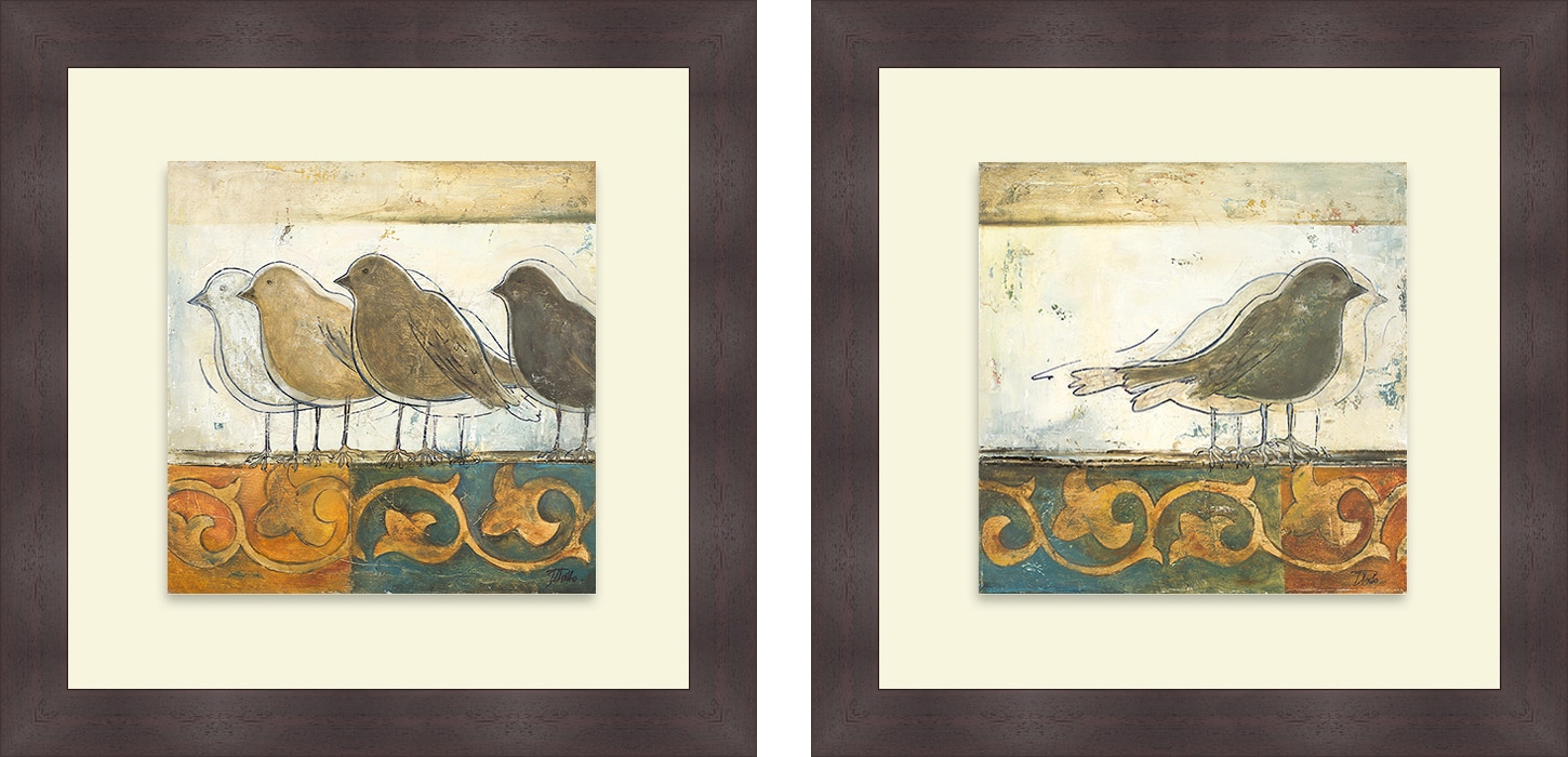 Patricia Pinto 'Birds on Damask I & II' Framed Print - Thumbnail 0