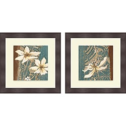 Patricia Pinto 'Fancy Floral on Blue I & II' Framed Print