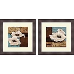 Patricia Pinto 'White Poppies I & II' Framed Print