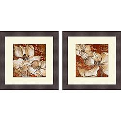 Lanie Loreth 'Whispering Magnolia on Red I & II' Framed Print