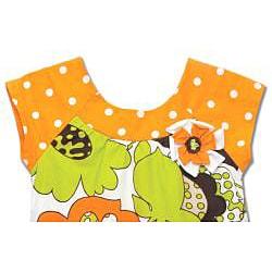Beetlejuice London Girls' Orange Dot/ Flower Baby Doll Dress - Thumbnail 1