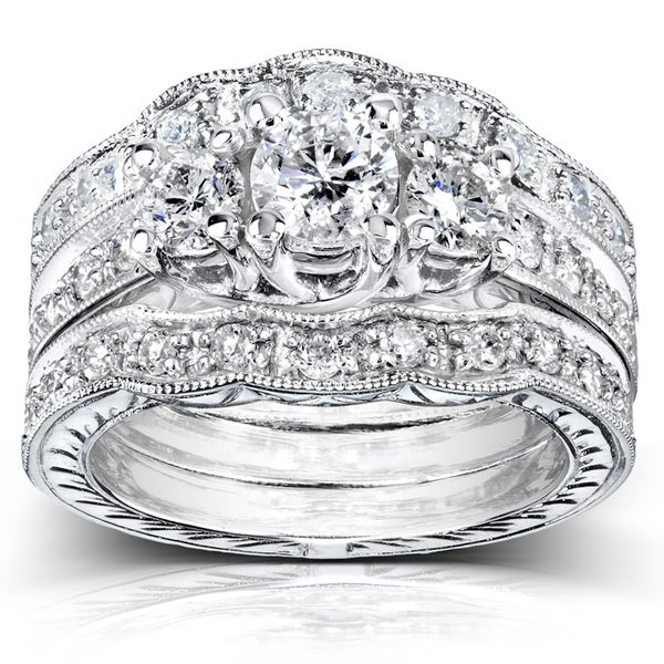 Annello by Kobelli 14k White Gold 1 1/4ct TDW Diamond 3-piece Bridal Ring Set (H-I, I1-I2