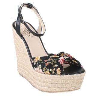 Bolaro by Beston Women's Floral Espadrille Wedges