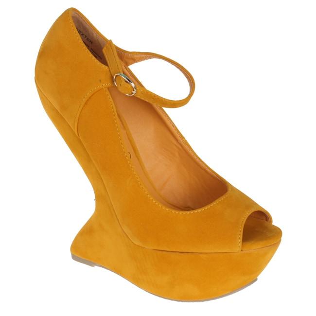 Privilegeo by Beston Women's 'Dexter' Yellow Peep Toes