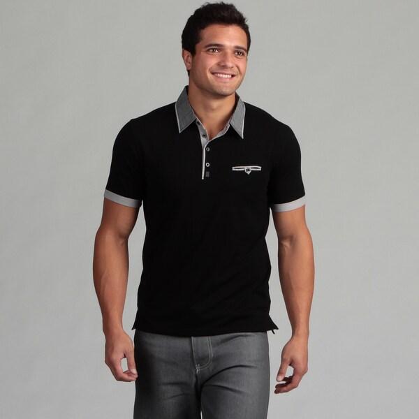 Dragonfly Men's Black Striped Collar Knit Polo