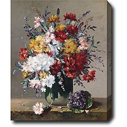 Eugene Henri Cauchois 'A Bouguet of Flowers and a Posy of Flowers' Hand-painted Oil on Canvas Art
