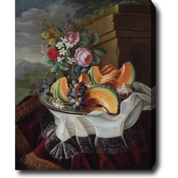 Maximilian Pfeiler 'Still Life with Melon' Hand-painted Oil on Canvas