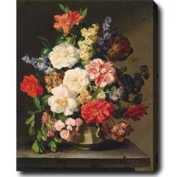 Joseph Lauer 'Flowers in a Vase' Hand-painted Oil on Canvas