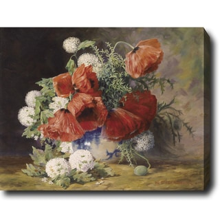 Max Streckenbach 'Poppies and Roses' Hand-painted Oil on Canvas