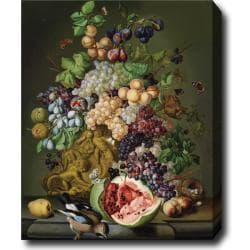 Sebastian Wegmayr 'Still Life with Flowers, Fruits and A Jar' Hand-painted Oil on Canvas