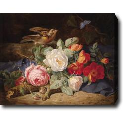 Joseph Lauer 'Bouquet of Flowers with Roses, Butterfly and Snail' Hand-painted Oil on Canvas