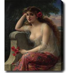Emile Vernon 'Girl with a Poppy' Hand-painted Oil on Canvas