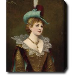Moritz Stifter 'Noble Lady' Hand-painted Oil on Canvas