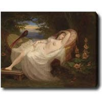 Ludwig Thibeaux 'Vienna Female Nude Reclining' Hand-painted Oil on Canvas Art