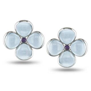 Miadora Sterling Silver 24ct TGW Blue Topaz and Lolite Flower Earrings