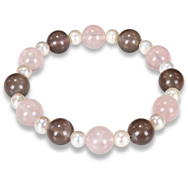 Miadora 70ct TGW Gemstone and Pearl Stretch Bracelet (7.5-inch)