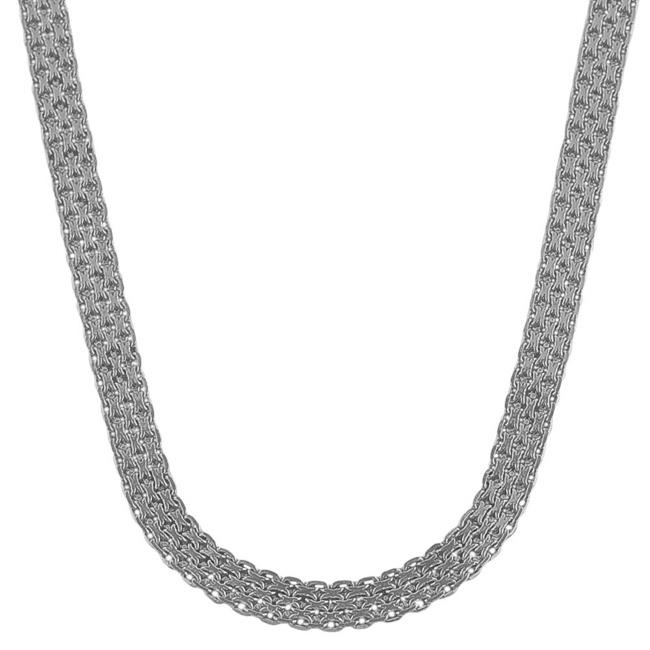 Fremada Rhodium plated Sterling Silver 18-inch Bismark Necklace (4.5 mm)