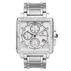 Bulova Men's Stainless Steel Diamond Accented Chronograph Watch - Thumbnail 2