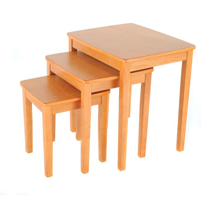 Bay S 3 Piece Honey Maple Nesting End Table Set Free Shipping Today 5255537