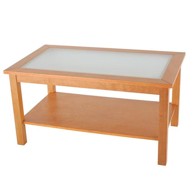 Shop Bay Shore Collection Glass Top Honey Maple Coffee Table Free - Maple and glass coffee table