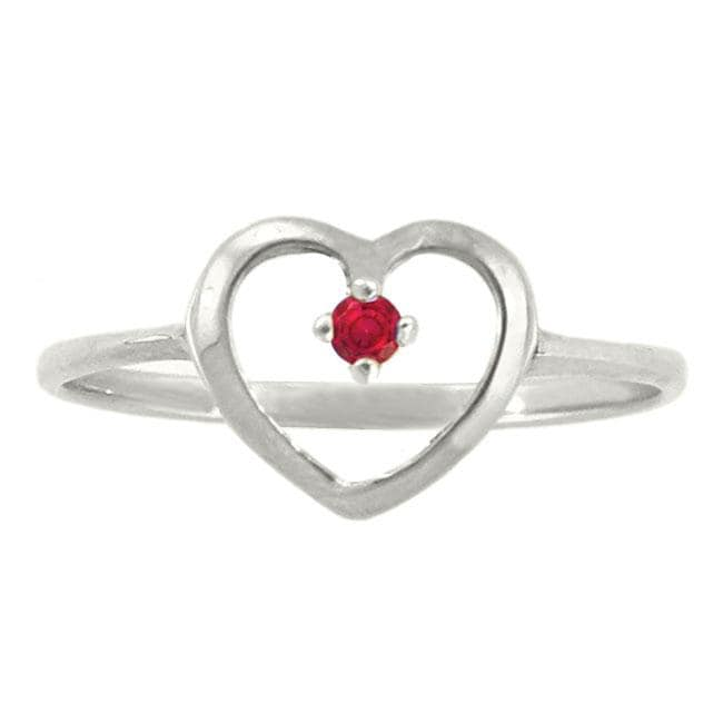 10k Gold Petite Designer July Birthstone Created Ruby Heart Ring