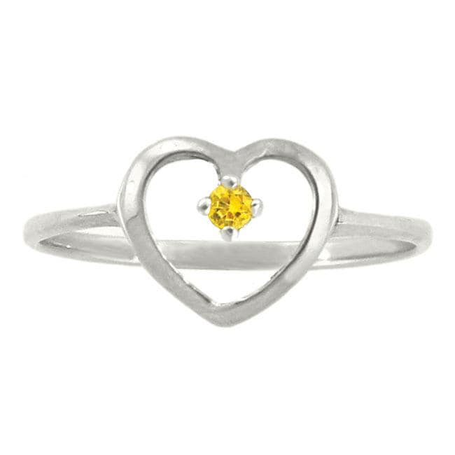 10k Gold Petite Designer November Birthstone Citrine Heart Ring