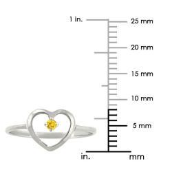 10k Gold Petite Designer November Birthstone Citrine Heart Ring - Thumbnail 2
