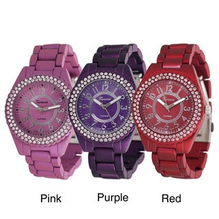 Geneva Platinum Women's Round Rhinestone Face Matte Link Bracelet Watch