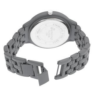 Geneva Platinum Men's Stainless-Steel Rhinestone Soft-Coated Link Watch
