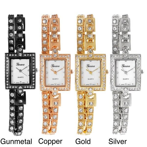 Geneva Platinum Women's Rhinestone Wrap-around Bracelet Watch