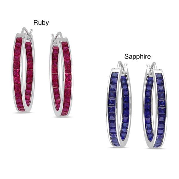 Miadora Sterling Silver 5ct TGW Created Gemstone Hoop Earrings