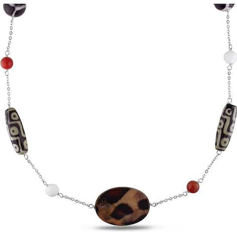 Miadora Silvertone Multi-colored Agate and Cornelian 30-inch Necklace