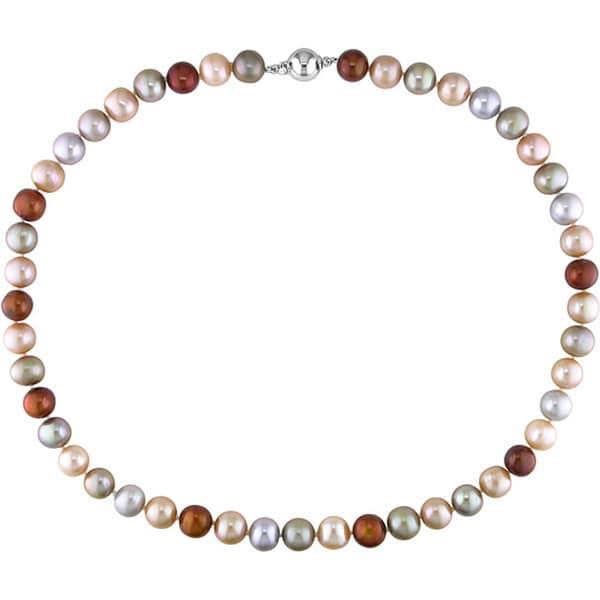 Miadora Sterling Silver Multi-colored Cultured Freshwater Pearl Necklace (18-inch)