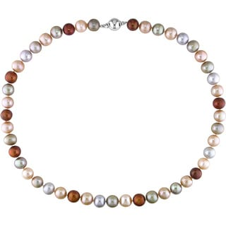 Miadora Sterling Silver Multi-colored Cultured Freshwater Pearl Necklace (18-inch)