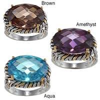 La Preciosa Two-tone Sterling Silver Colored Cubic Zirconia Oval Ring
