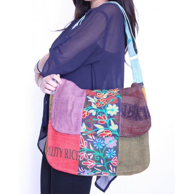 Women's Multi-color Embroidered Messenger Bag (Nepal)