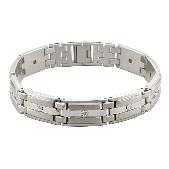 Unending Love Sterling Silver and Stainless Steel Men's Diamond Accent Link Bracelet