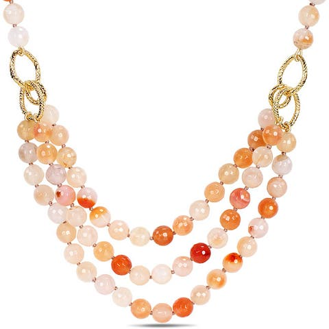 Miadora 600ct TGW Peach Agate Three-strand Necklace (18-inch)