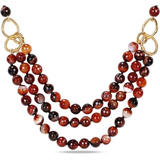 Miadora Miadora 600ct TGW Brown Agate Bead 3-strand Necklace (40-inch)