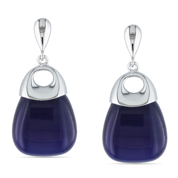 Miadora Sterling Silver Blue Simulated Cat Eye Dangle Earrings