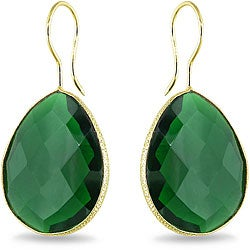 22k Goldplated Silver 42ct TGW Created Hydro Emerald Earrings