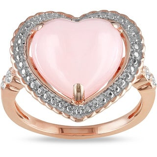 Miadora Pink-plated Silver 2ct Opal and Diamond Accent Heart Ring