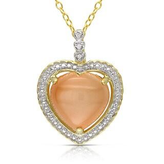 Miadora Gold-plated Silver 6ct TGW Moonstone & Diamond Accent Pendant