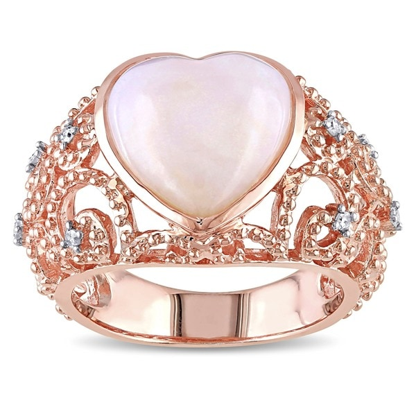 Miadora Pink-plated Silver 4ct Opal and 1/10ct TDW Diamond Ring (H-I, I3)