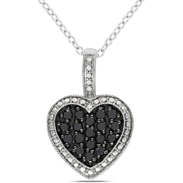 Sterling Silver 1/2ct TDW Black Diamond Heart Pendant