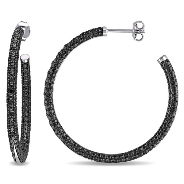 Miadora Sterling Silver 1 4ct Tdw Black Diamond Hoop Earrings