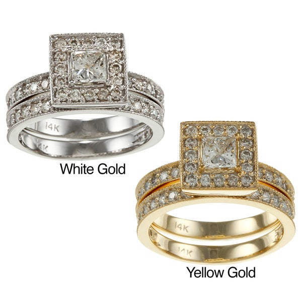Auriya 14k Gold 1 1/2ct TDW Certified Princess Diamond Bridal Ring Set (H-I, I1-I2)