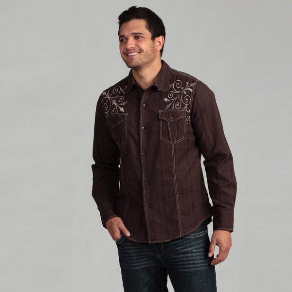 Pop Icon Men's Brown Embroidered Shirt