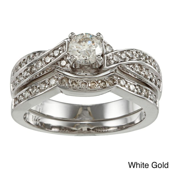 Auriya 14k Gold 3/4ct TDW Certified Round Diamond Bridal Ring Set