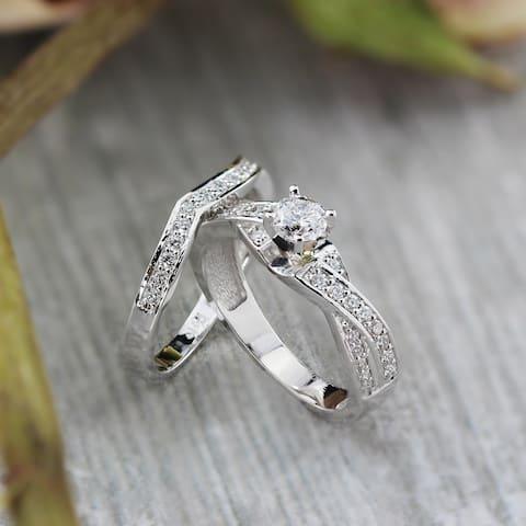 a3771549f145e7 Auriya Twisted 3/4ct TDW Round Diamond Engagement Ring Set by Auriya 14K  Gold